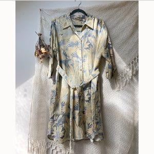 Soft Surroundings • Palm Leaf Print Shirt Dress